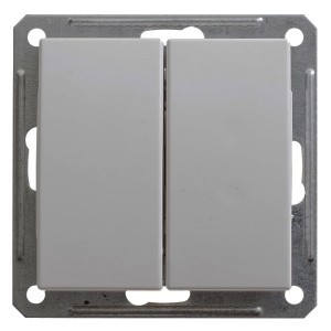 Двухклавишный выключатель 10А механизм SE W59, матовый хром