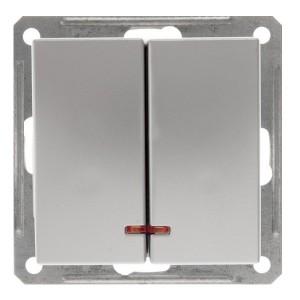 Двухклавишный выключатель с подсветкой 10А механизм SE W59, матовый хром