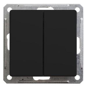 Двухклавишный выключатель 10А механизм SE W59, черный бархат