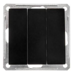 3-клавишный выключатель 10А механизм SE W59, черный бархат
