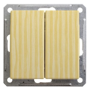 Двухклавишный выключатель 10А механизм SE W59, сосна