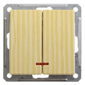 Двухклавишный выключатель с подсветкой 10А механизм SE W59, сосна