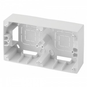 Коробка накладного монтажа Эра 12 2 пост, белый 12-6102-01