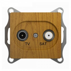 TV-SAT розетка проходная 4DB механизм SE Glossa, дерево дуб