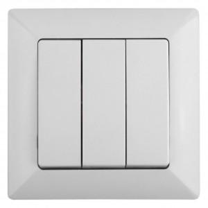 Выключатель тройной 10А-250В Intro Solo, белый 4-106-01