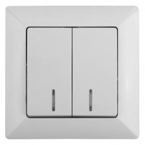 Выключатель двойной с подсветкой 10А-250В Intro Solo, белый 4-105-01