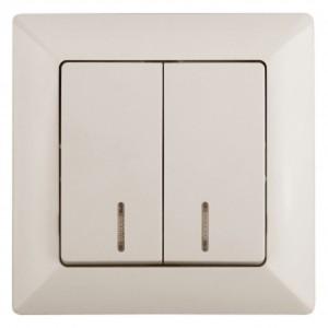 Выключатель двойной с подсветкой 10А-250В Intro Solo, слоновая кость 4-105-02 (бежевый)
