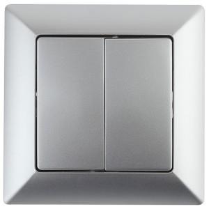 Выключатель двойной 10А-250В Intro Solo, алюминий 4-104-03