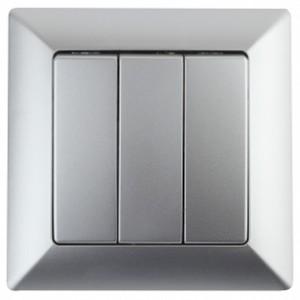 Выключатель тройной 10А-250В Intro Solo, алюминий 4-106-03