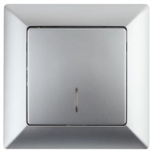 Выключатель с подсветкой 10А-250В Intro Solo, алюминий 4-102-03