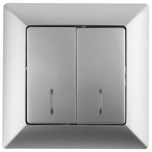 Выключатель двойной с подсветкой 10А-250В Intro Solo, алюминий 4-105-03