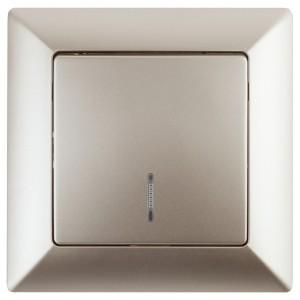 Выключатель с подсветкой 10А-250В Intro Solo, шампань 4-102-04