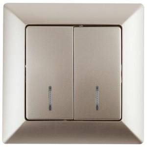 Выключатель двойной с подсветкой 10А-250В Intro Solo, шампань 4-105-04