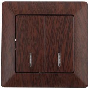 Выключатель двойной с подсветкой 10А-250В Intro Solo, венге 4-105-10