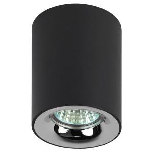 Светильник накладной ЭРА OL1 GU10 BK/CH GU10 D80x100мм черный/хром 5056306016585