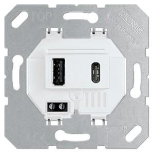 Зарядное устройство для  USB тип А и USB тип С макс.3000 мА Jung белый механизм