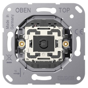 Механизм одноклавишного кнопочного переключателя крепление винтами серии LS1912 Jung, без лапок