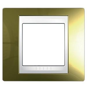 Рамка Unica хамелеон 1 пост золото/белая