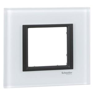 Рамка Unica Class 1 пост белое стекло