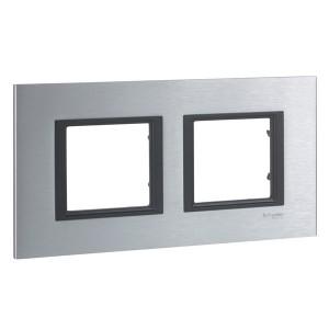 Рамка Unica Class 2 поста серебристый алюминий