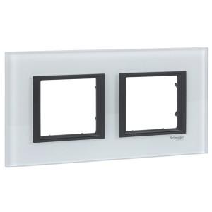 Рамка Unica Class 2 поста белое стекло