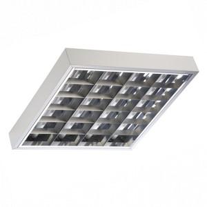 Накладной светильник TL418 4х18 Вт ЭмПРА, 620х620, зеркальный классический растровый