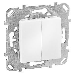 Выключатель двухклавишный  SE Unica, белый
