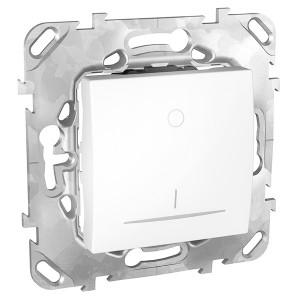 Выключатель  двухполюсный 16A с контрольной лампой SE Unica, белый