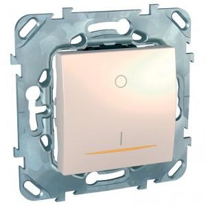 Выключатель  двухполюсный 16A с контрольной лампой SE Unica, бежевый