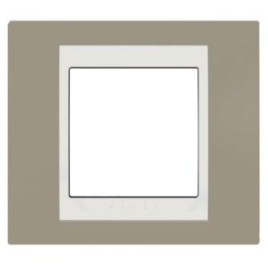 Рамка Unica хамелеон 1 пост коричневый/белая