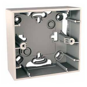 Монтажная коробка Unica 1 пост для наружной проводки 36 мм бежевая