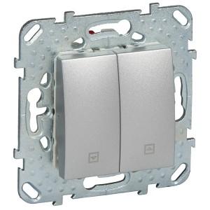 Выключатель кнопочный для жалюзи нажимной  SE Unica Top, алюминий