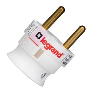 Вилка Legrand без заземления 16А с боковым вводом кабеля белая ультраплоская