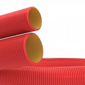 Труба гибкая двустенная для кабельной канализации д.110мм, цвет красный, без протяжки [бухта 100м]
