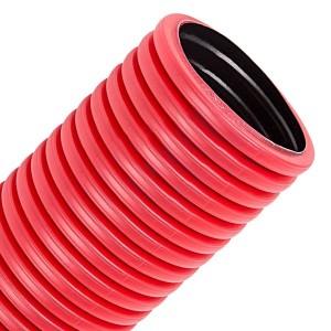Труба гофрированная двустенная Промрукав д.125 ПЭ гибкая тип 450 с зондом красная  [50м/уп]