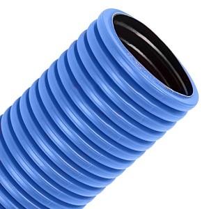 Труба гофрированная двустенная Промрукав д.125 ПЭ гибкая тип 450 с зондом синяя  [50м/уп]