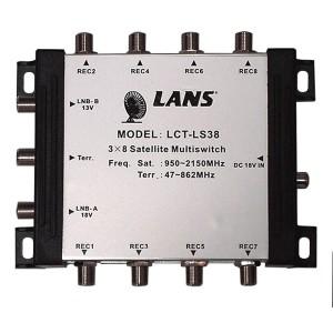 Мультисвитч 3 х 8 LANS 3 входа (2 SAT + 1 TV), 8 выходов, активный, с внешним блоком питания
