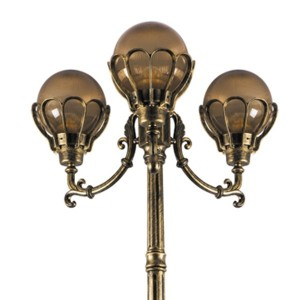 Светильник садово-парковый Верона PL5059 3*E27 700*700*2250мм черное золото (столб 2,25м)
