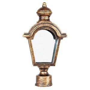 Светильник садово-парковый Византия PL4015 E27 170*100*330мм черное золото (на столб)