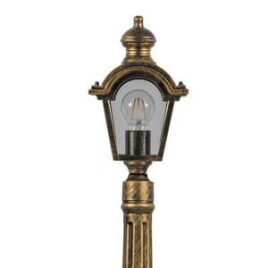 Светильник садово-парковый Византия PL4017 E27 170*100*1635мм черное золото (столб 1.7м)