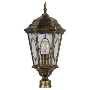 Светильник садово-парковый Витраж PL152 E27 240*240*520мм черное золото (большой на столб 0,46м)