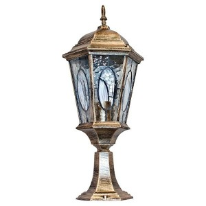 Светильник садово-парковый Витраж PL154 E27 240*240*550мм черное золото (большой на постамент 0,54м)