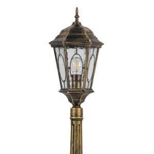 Светильник садово-парковый Витраж PL155 E27 240*240*1225мм черное золото (большой столб 1,20м)