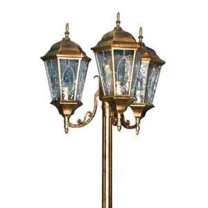 Светильник садово-парковый Витраж PL158 3*E27 630*630*2200мм черное золото (большой столб 2м)