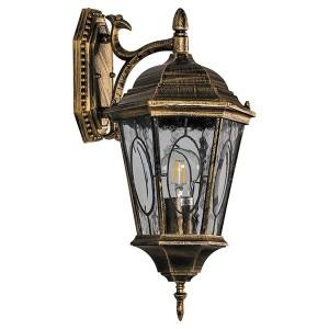 Светильник садово-парковый Витраж PL161 E27 200*250*425мм черное золото (малый на стену вниз)