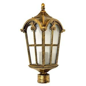 Светильник садово-парковый Замок PL104 E27 150*150*380мм черное золото (на столб 0,38м)