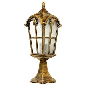 Светильник садово-парковый Замок PL105 E27 150*150*440мм черное золото (на постамент 0,45м)