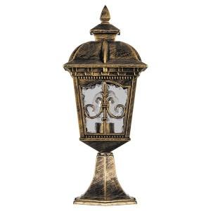 Светильник садово-парковый Рига PL4094 E27 175*175*350мм черное золото (на постамент)