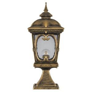 Светильник садово-парковый Стокгольм PL136 E27 220*220*530мм черное золото (на постамент 0,59м)