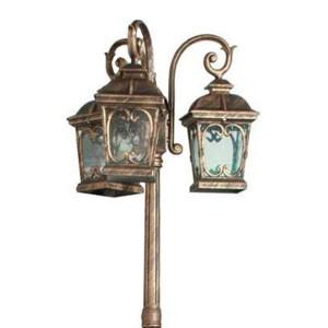 Светильник садово-парковый Стокгольм PL145 3*E27 640*640*2470мм черное золото (столб 2,4м)
